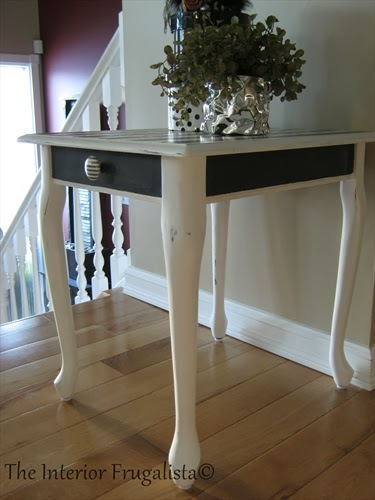 Queen Anne end table After painted with Graphite & Pure White chalk paint