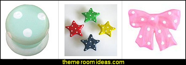 Polka Dot furniture Knobs  polka dot bedroom decorating ideas - polka dot wall decals -  polka dot bedroom theme - bedroom circles - polka dots decor  - polka dot wall murals - polka dot bedding - Polka Dot decals - polka dot walls -
