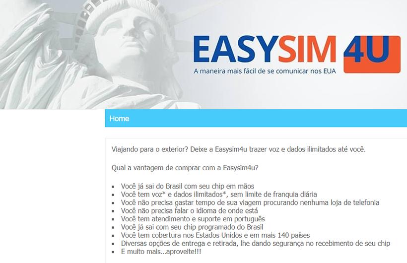 EasySim4U - Internet e celular ilimitados