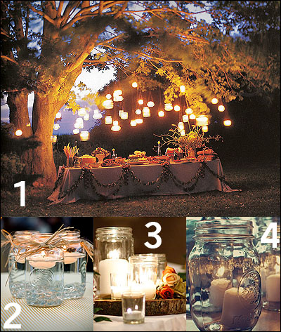 Rustic Country Wedding Ideas Mason Jar Tea Lights