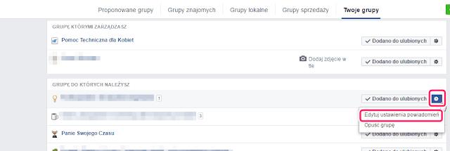 powiadomienia grupy facebook