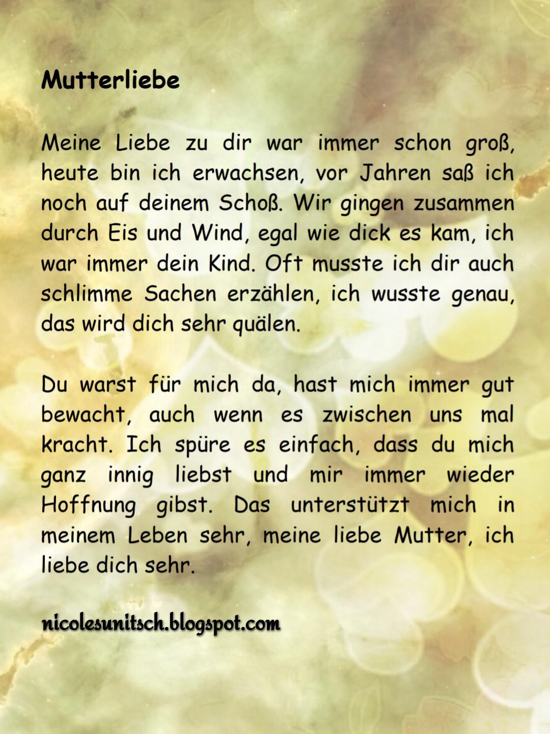 Gedichte Von Nicole Sunitsch Autorin Mutterliebe Gedicht Von