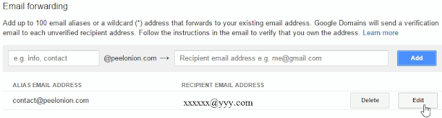 editing forward email adress google domains