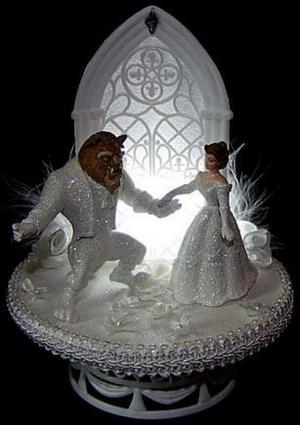 Beauty and the Beast Light Up Wedding Cake Topper