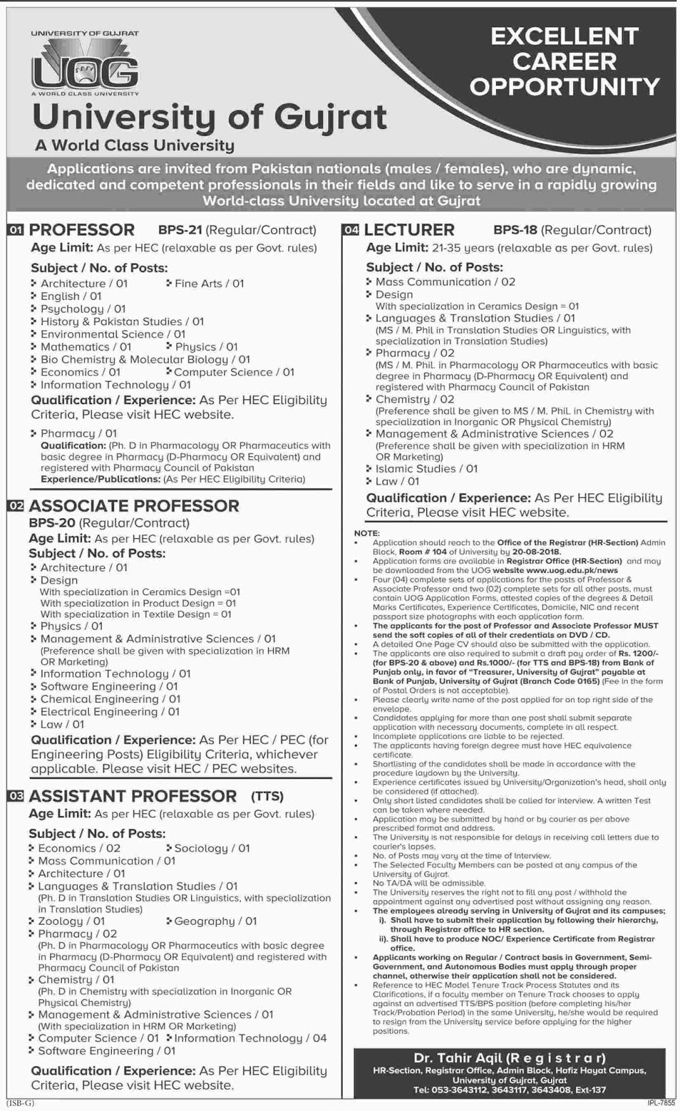 Latest Jobs in UOG, University of Gujarat August 2018