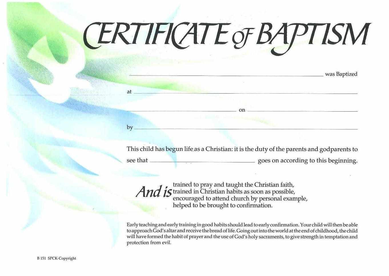 Sample baptism certificate templates sample certificate for Free water baptism certificate template