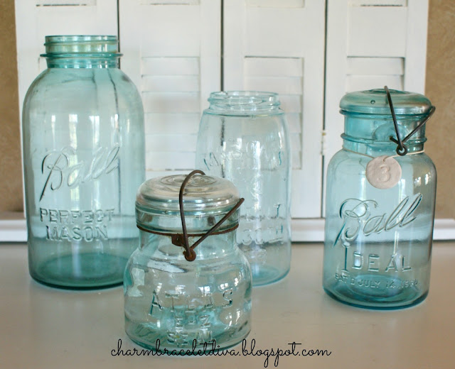 vintage blue Mason Ball Jars collection
