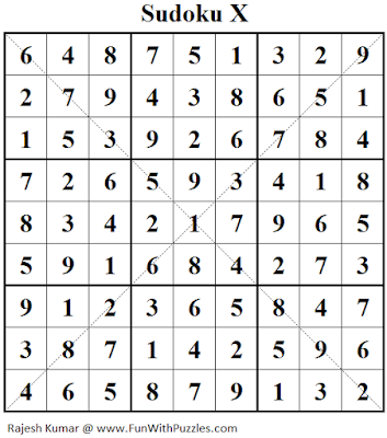 Sudoku X (Fun With Sudoku #147) Solution
