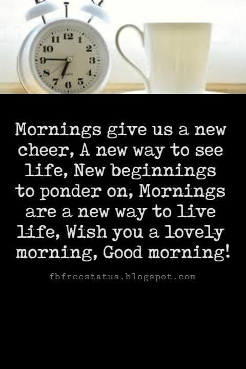 Sweet Good Morning Messages, Mornings give us a new cheer, A new way to see life, New beginnings to ponder on, Mornings are a new way to live life, Wish you a lovely morning, Good morning!