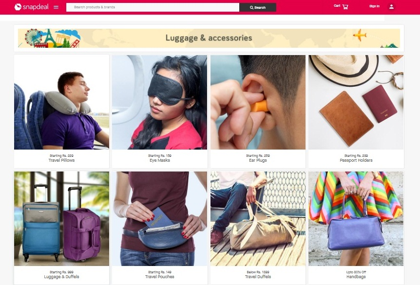 a0cd3fe46 Snapdeal has set-up a travel store that helps buyers with travel  necessities at affordable prices. With the holiday season ahead