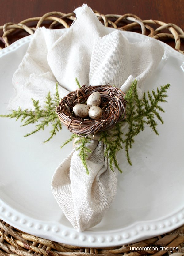 Birds Nest Napkin Rings from Uncommon Designs