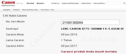 Cek Garansi Kamera Canon