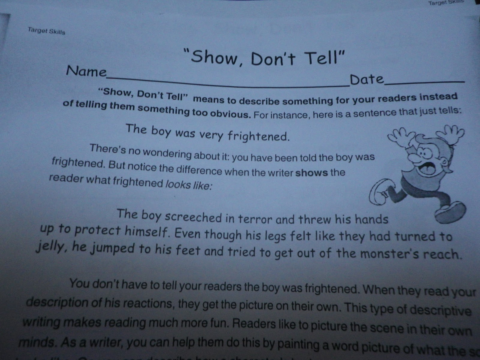Fabulous in Fifth Show Dont Tell MiniLesson Razzle Dazzle – Show Don T Tell Worksheet
