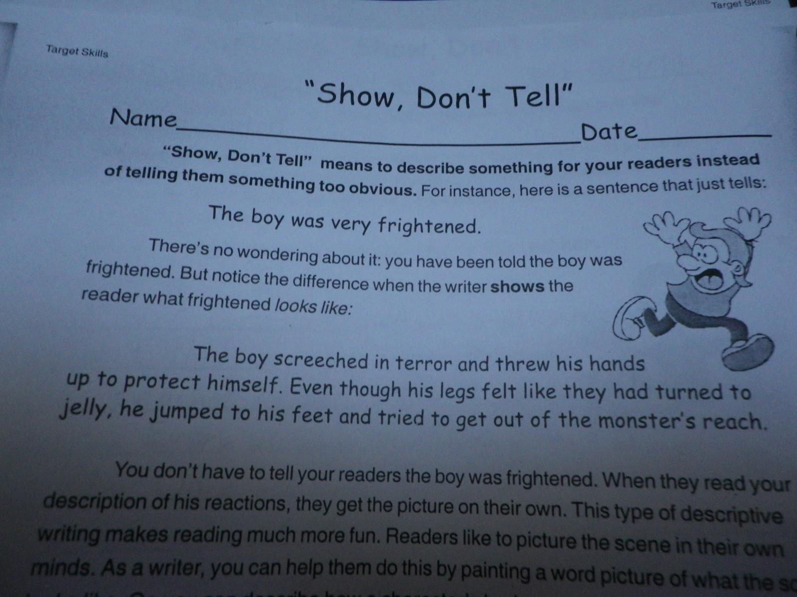 Fabulous In Fifth Show Dont Tell Mini Lesson Razzle Dazzle