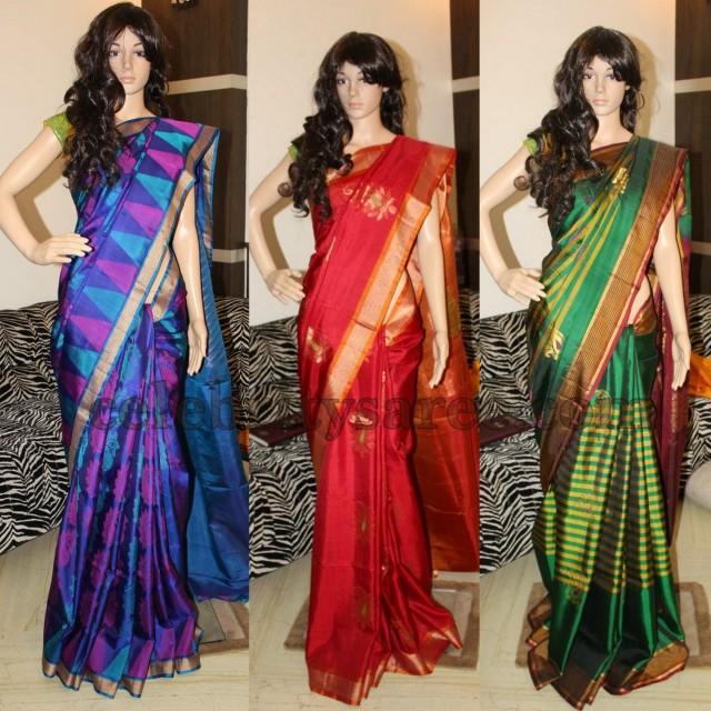 86f88f79ee6200 Bright Checks Uppada Sarees - Saree Blouse Patterns