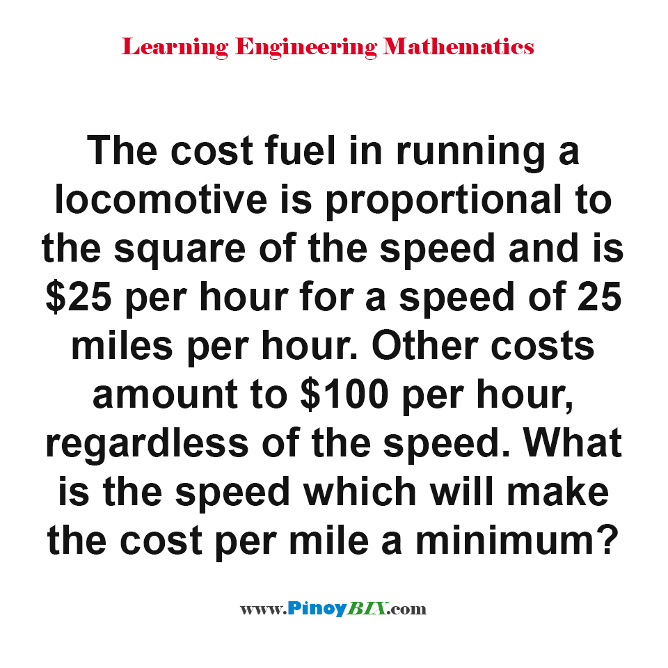 What is the speed which will make the cost per mile a minimum?