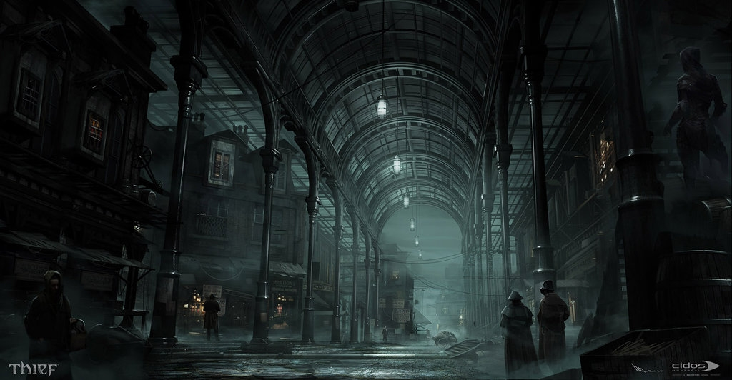 11-Lower-Covered-Market-Mathieu-Latour-Duhaime-Concept-Art-for-Thief-Steampunk-feel-Video-Game-www-designstack-co