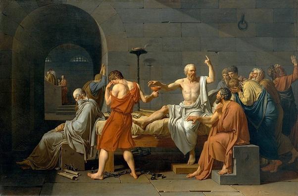 O julgamento, a condenação e a morte de Socrates.