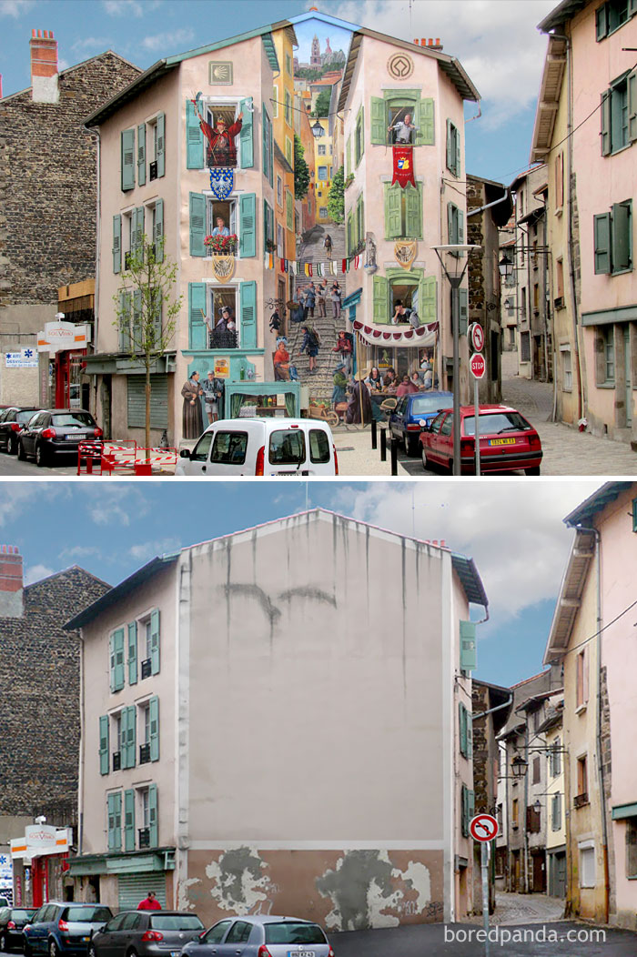 10+ Incredible Before & After Street Art Transformations That'll Make You Say Wow - Renaissance, Le Puy en Velay, France