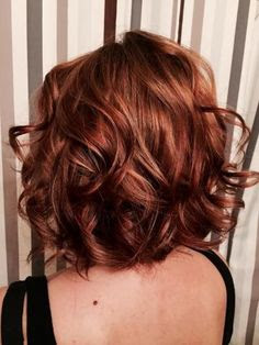 red lob bob curly color hair style idea