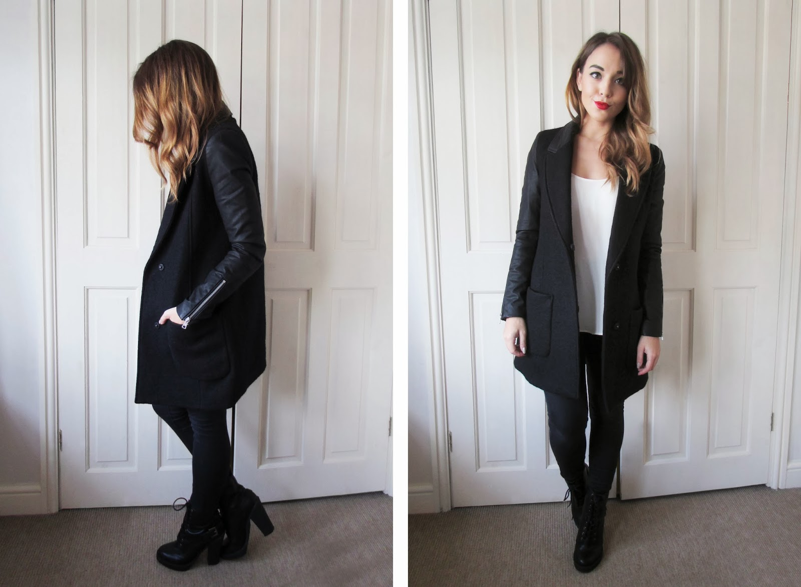 Zara Leather Sleeve Coat