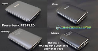 Powerbank 7.800mAh Kode: P78PL20, Barang Promosi Powerbank Plastik 7.800mAh P78PL20, PowerBank custom P78PL20, powerbank kulit / leather