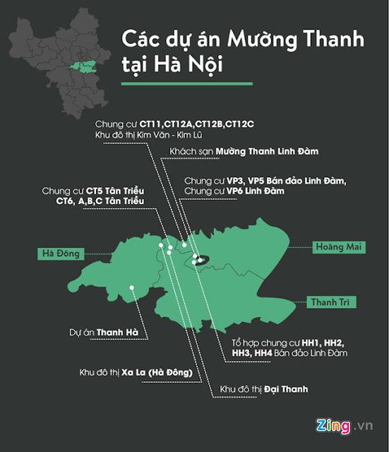 Sơ đồ các dự án chung cư Mường Thanh