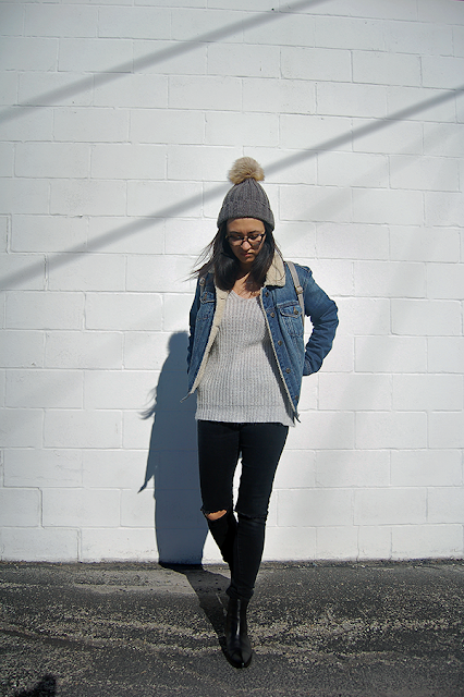 Pom Pom Beanie Denim Jacket