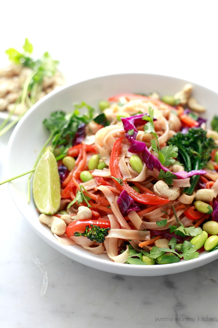 ... healthy rainbow veggie pad Thai is vegetarian, vegan, and gluten free