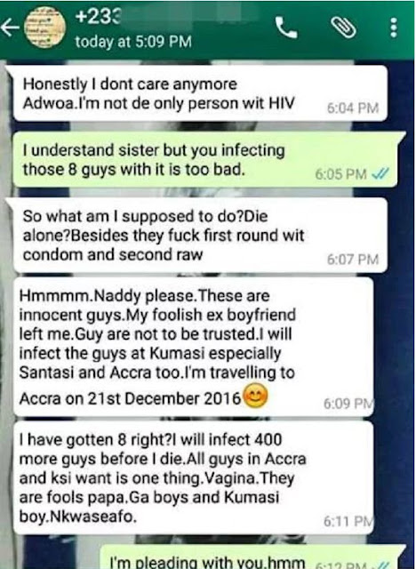 Ghanaian HIV+ lady vows to Infect 400+ guys before dying