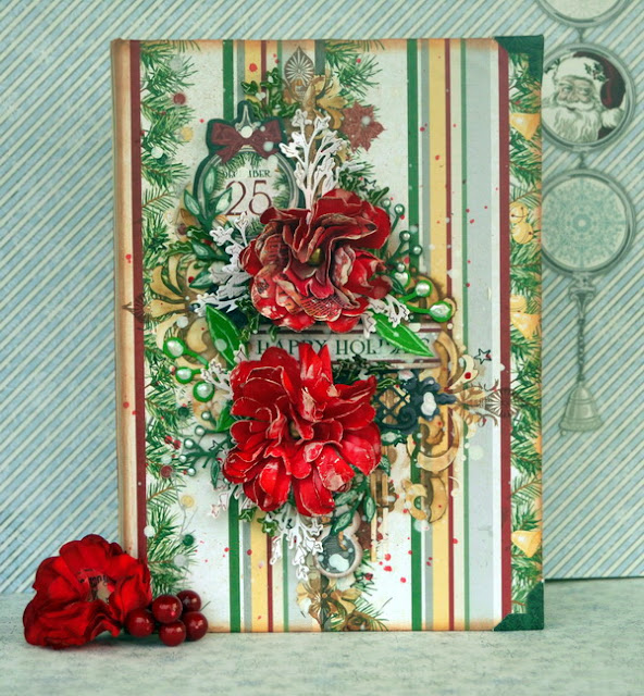 Mixed Media Mini Album by Denise van Deventer using BoBunny Tis the Season and Pearlescents