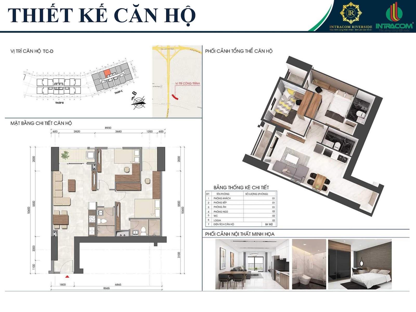 Thiết kế căn 03 - 04 - 64m2