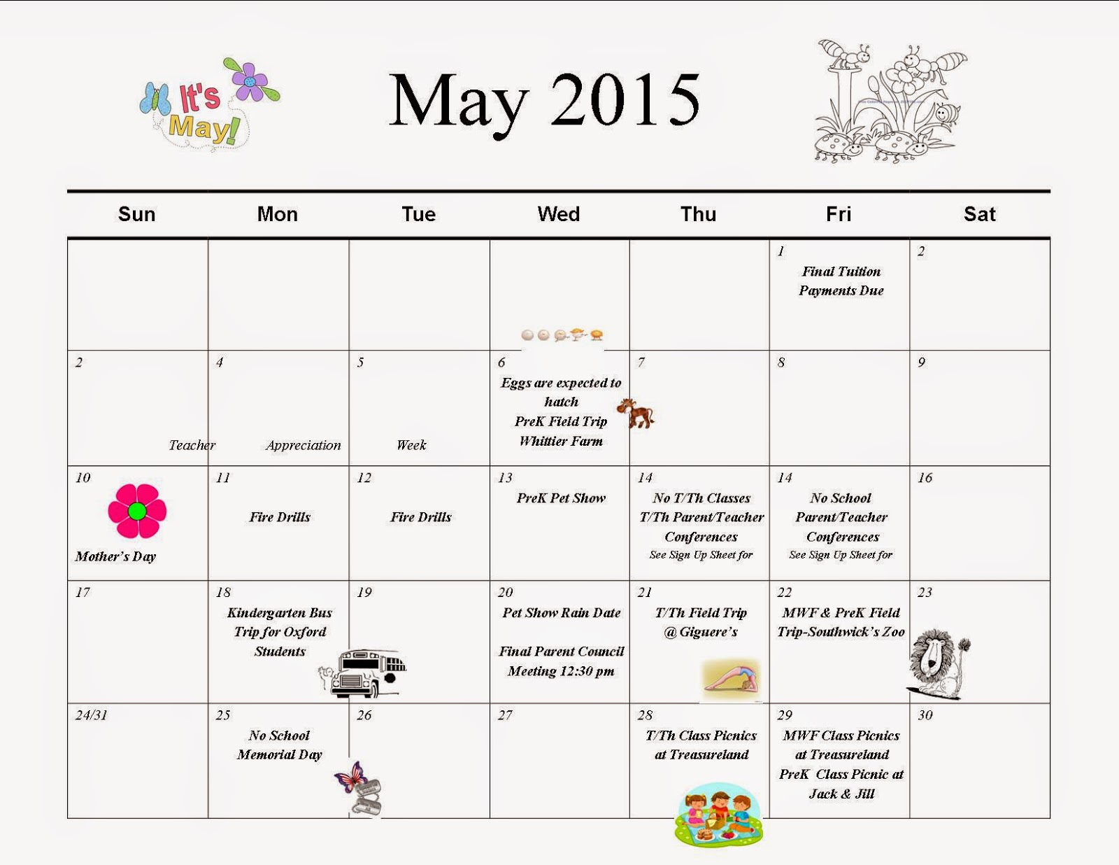 Jack Amp Jill Preschool Calendar