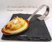 Pulpo a la plancha con crema de patatas y tapita en tempura