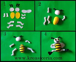 Gambar tutorial boneka lebah dari kain flanel