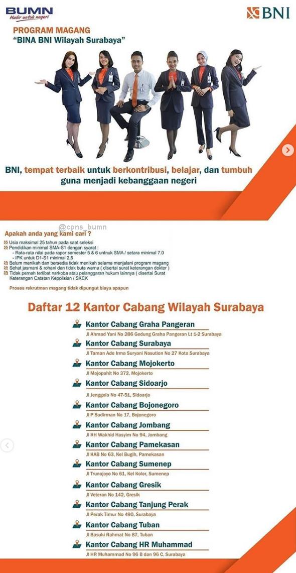 Penerimaan Terbaru BINA BNI Wilayah Surabaya Februari 2019