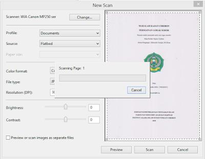Proses scanning dokumen
