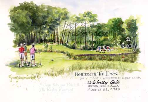golf event illustration, golf event illustrator, celebtity golf tournament