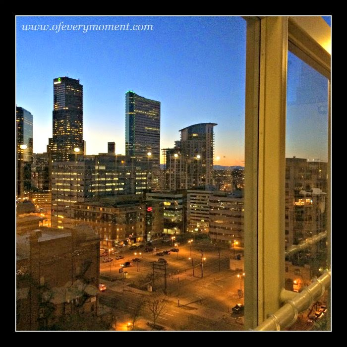 Denver Skyscrapers, evening view, Downtown Denver