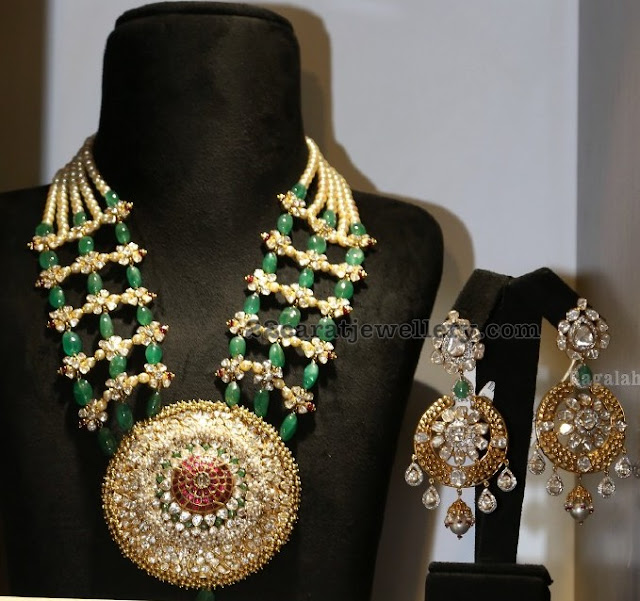 Emerald Drops Kundan Set with Earrings