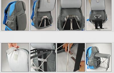 Dépliage de la chaise du sac à dos étape par étape