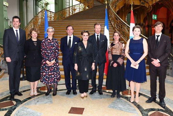 Maria Teresa, Duke Guillaume, Duchess Stephanie and Prince Louis, Princess Stephanie wore Hobbs Abigale dress