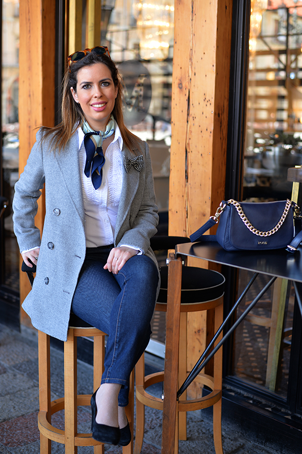 grey coat silk scarf style fashion blogger chic outfit