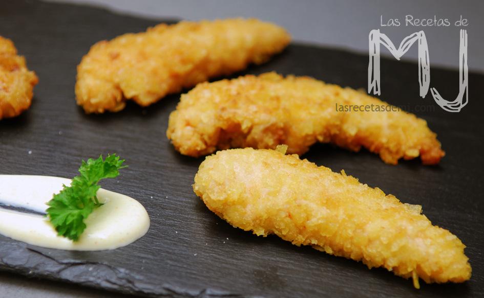 solomillos de pollo con rebozado crujiente de patatas