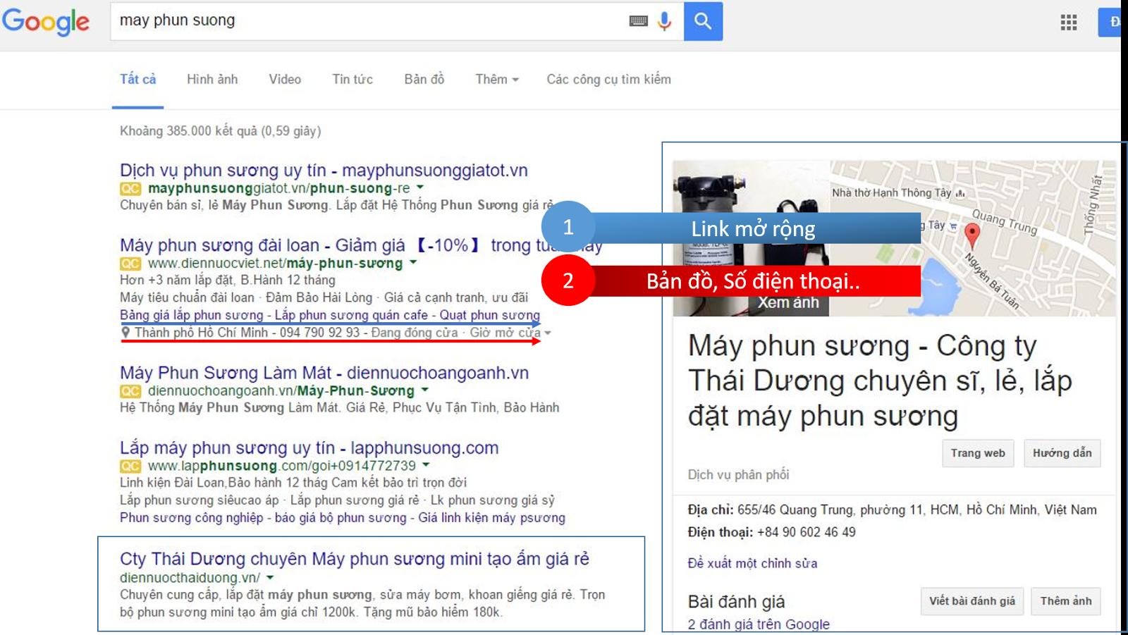 Mẫu quảng cáo Google Adwords tiêu biểu