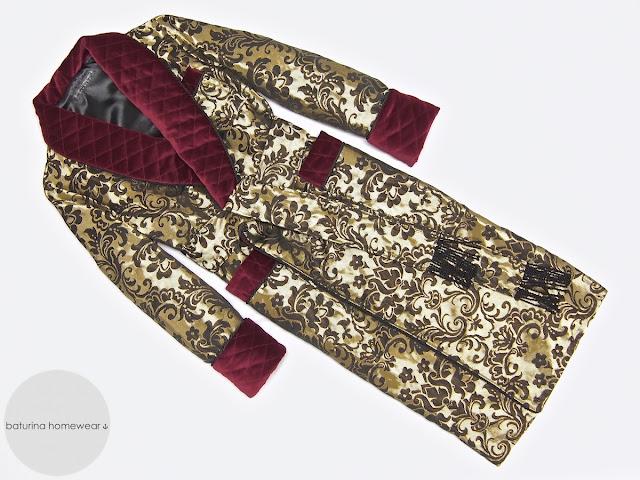 Men's paisley silk dressing gown quilted warm velvet shawl collar gold burgundy black long full length gentleman robe