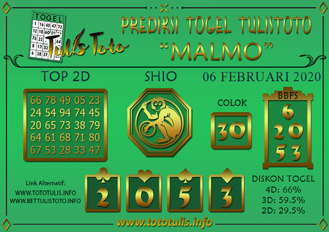 Prediksi Togel MALMO TULISTOTO 06 FEBRUARI 2020