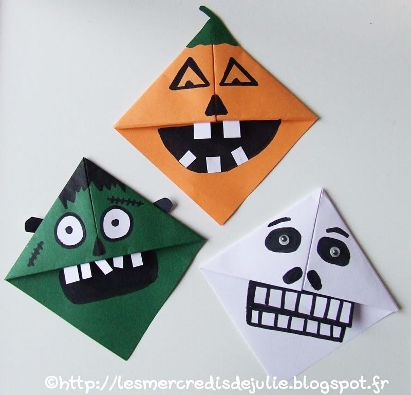 les mercredis de julie marque pages en origami sp cial halloween. Black Bedroom Furniture Sets. Home Design Ideas