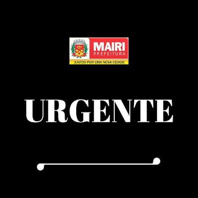 Comunicado urgente da Secretaria de Agricultura de Mairi