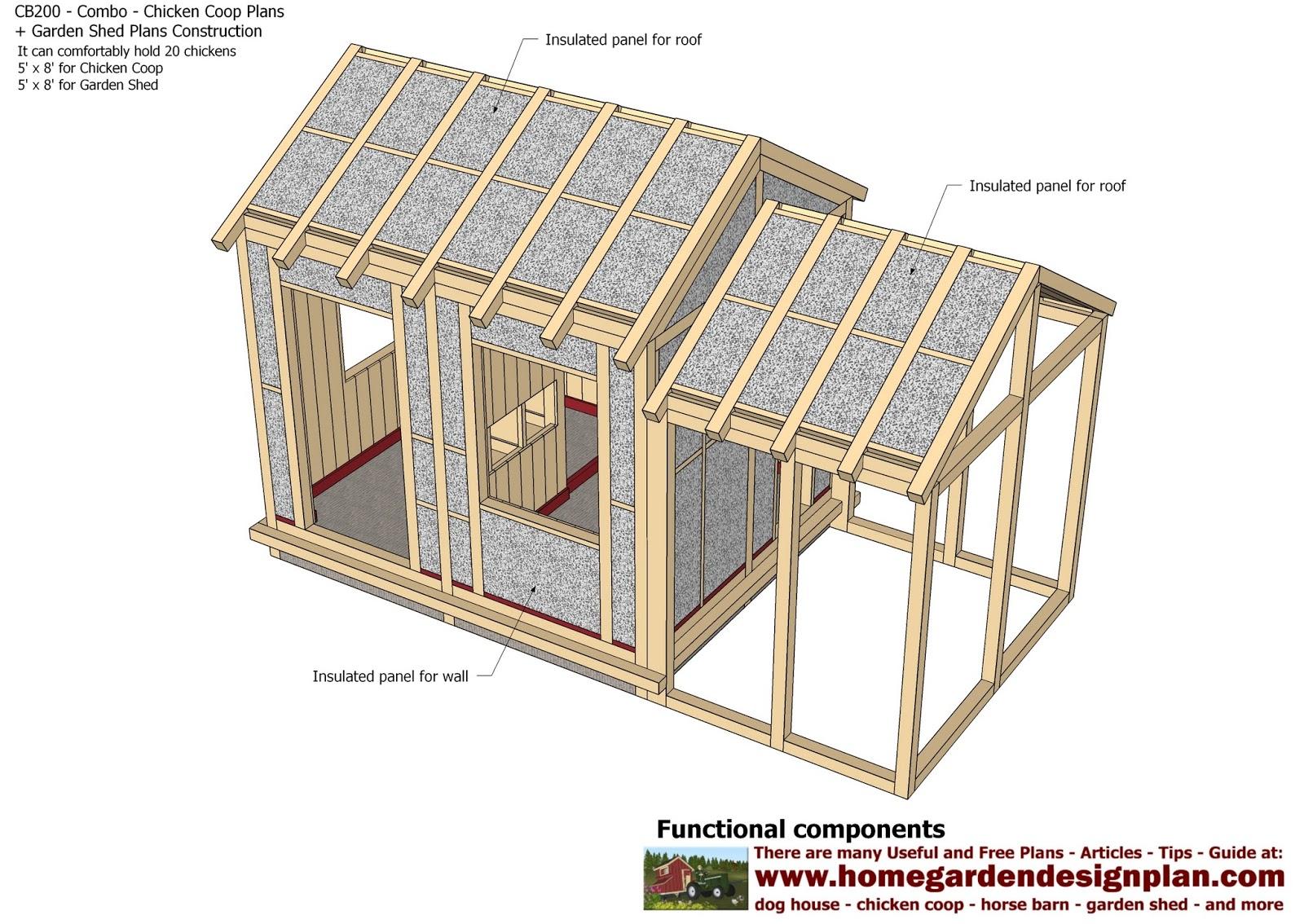 Home Garden Plans Cb200 Combo En Coop Construction Sheds Storage